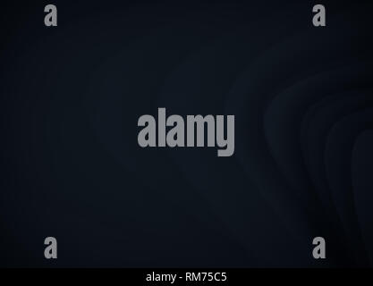 Abstract image of curvy, blurred and soft dark gray and blue lines on dark background. Rippled effect, copy space. - Stock Photo