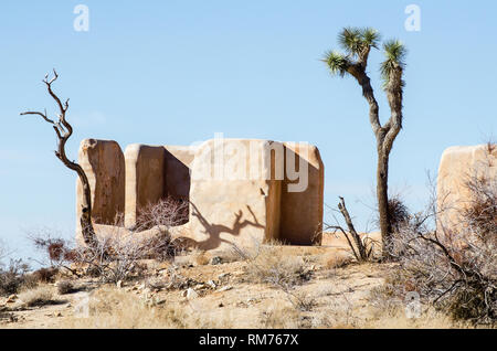 The Ryan Ranch house is an adobe structure built in 1896 in what is now Joshua Tree National Park in CA. - Stock Photo