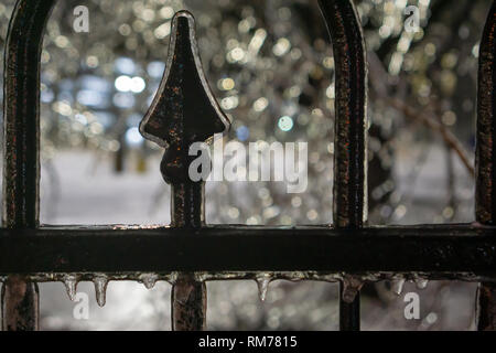 Even though the Toronto ice storm always causes a lot of real damage in the city there is undeniable beauty it brings with its literal 'silver lining' - Stock Photo