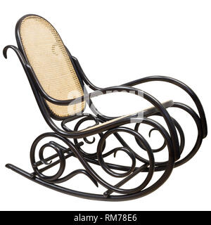 Wooden rocking chair isolated on white background - Stock Photo