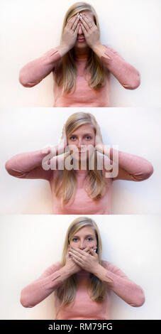 blonde young woman showing the proverbial principle of three wise monkeys: see no evil, hear no evil, speak no evil - Stock Photo