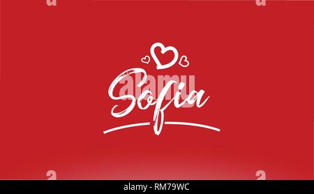 sofia white city hand written text with heart on red background for logo or typography design - Stock Photo
