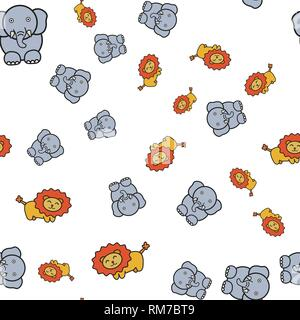 Seamless pattern of elephants and lions in in cartoon style. On white background, vector illustration. - Stock Photo