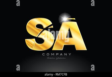 combination letter sa s a gold golden alphabet logo icon design with metal look on black background suitable for a company or business - Stock Photo