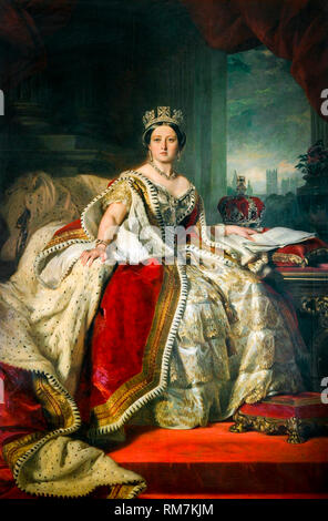 Queen Victoria of the United Kingdom portrait by Franz Xaver Winterhalter, 1859 - Stock Photo