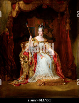 Queen Victoria of the United Kingdom in Coronation Robes. Coronation portrait by George Hayter, c.1838-40 - Stock Photo