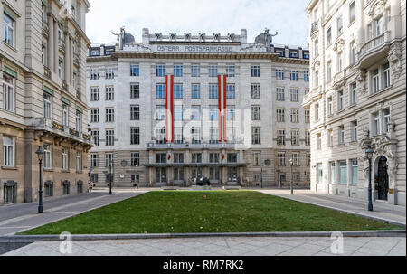 Art Nouveau style Austrian Postal Savings Bank building in Vienna, Austria. Designed and built by the architect Otto Wagner. - Stock Photo
