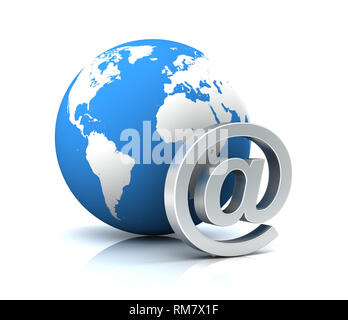 e mail and globe 3d illustration on white  background - Stock Photo