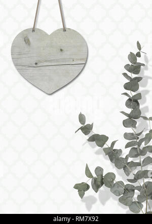 blank weathered wooden heart on wall with moroccan print wallpaper, with Eucalyptus cinerea, interior still life with copy space - Stock Photo