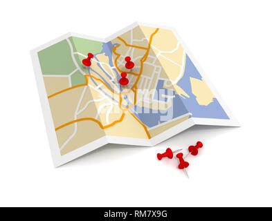 pushpin on map 3d illustration isolated on white background - Stock Photo