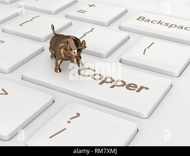 3d render of keyboard with copper button and bull. The concept of bullish trend - Stock Photo