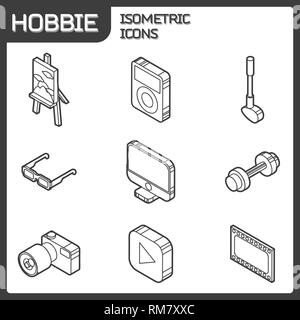 Hobbie outline isometric icons set and infographics elements - Stock Photo