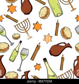 Seamless pattern with Hanukkah symbols. Israel festival objects and symbols. Vector illustration - Stock Photo