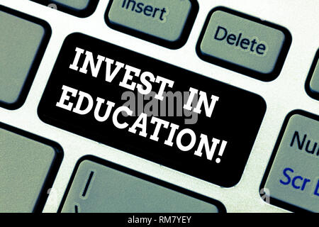 Writing note showing Invest In Education. Business photo showcasing sponsor agrees provide student with funding for college Keyboard key Intention to  - Stock Photo