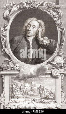 Alexander Pope, 1688 - 1744.   English poet and satirist.  From the 1813 edition of The Heads of Illustrious Persons of Great Britain, Engraved by Mr. Houbraken and Mr. Vertue With Their Lives and Characters. - Stock Photo
