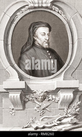 Geoffrey Chaucer, c. 1343 – 1400.  English poet and author of The Canterbury Tales. From the 1813 edition of The Heads of Illustrious Persons of Great Britain, Engraved by Mr. Houbraken and Mr. Vertue With Their Lives and Characters. - Stock Photo