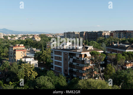 Housing estates in the periphery of Rome, east of the district Tiburtina, Italy - Stock Photo
