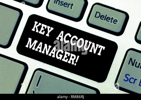 Writing note showing Key Account Manager. Business photo showcasing full relationship between your business and customers Keyboard key Intention to cr - Stock Photo