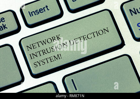 Writing note showing Network Intrusion Detection System. Business photo showcasing Safety security multimedia systems Keyboard key Intention to create - Stock Photo