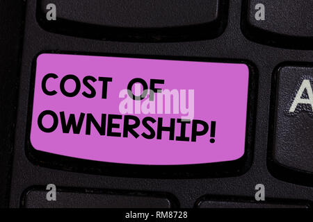 Handwriting text writing Cost Of Ownership. Concept meaning purchase price of asset plus the price of operation Keyboard key Intention to create compu - Stock Photo