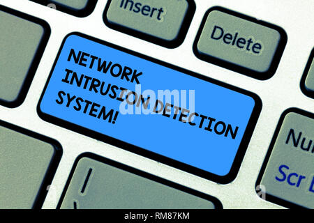 Handwriting text writing Network Intrusion Detection System. Concept meaning Safety security multimedia systems Keyboard key Intention to create compu - Stock Photo