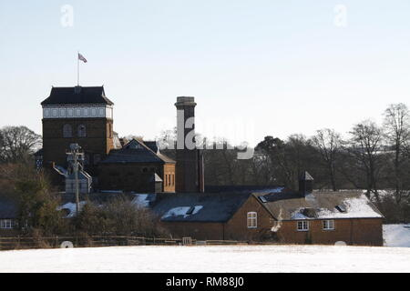Hook Norton Brewery in the Winter Snow - Stock Photo