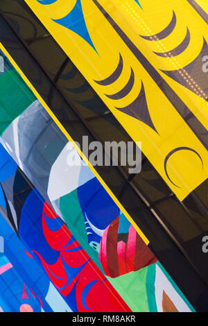 Colourful lanterns on the Vancouver waterfront to celebrate the Lunar New Year in 2019 - Stock Photo
