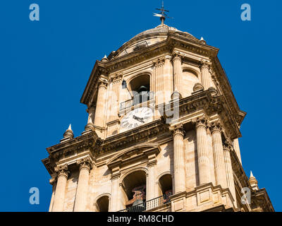 Looking up at bell clock tower, Cathedral Basilica, Malaga, Andalusia, Spain - Stock Photo