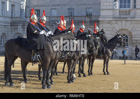 Blues and royals, Household Cavalry on horse guards parade ground London - Stock Photo