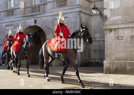 Queens Lifeguards, Household cavalry on horse guard parade London - Stock Photo
