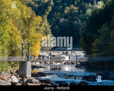 Quebec, OCT 2: Beautiful fall color of Montmorency Falls on OCT 2, 2018 at Quebec, Canada - Stock Photo