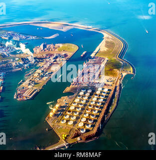 Aerial view of the Port of Rotterdam and the Maasvlakte, its extension. The major port in Europe
