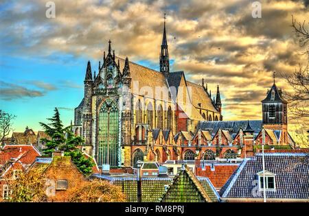 Hooglandse Kerk, a Gothic church in Leiden - South Holland, the Netherlands - Stock Photo