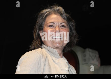 Presidential candidate Roseanne Barr is shown giving a speech on stage at the Gathering of the Vibes music festival in Bridgeport, Connecticut. - Stock Photo
