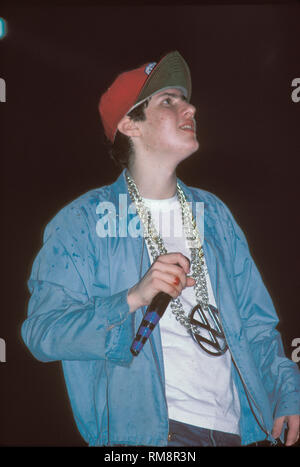 The Beastie Boys are shown performing on stage during a 'live' concert appearance. - Stock Photo