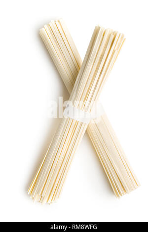 Raw udon noodles isolated on white background. - Stock Photo