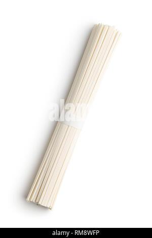 Raw udon noodles isolated on white background. - Stock Photo