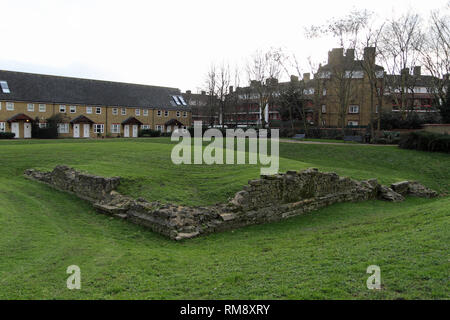 The remains of the so called King Edward III's Manor House are near the Thames in Rotherhithe in London. The house was built around 1350 by King Edward III when Rotherhithe was just a small hamlet. It was placed on a small island and consisted of several stone buildings arranged around a courtyard. - Stock Photo