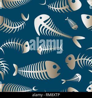 Fishbone set pattern. Vector illustration EPS 10 - Stock Photo