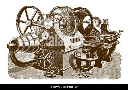 Historic pulley lathe machine (after an etching or engraving from the 19th century) - Stock Photo