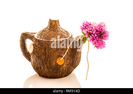 Teapot and red clover flowers  isolated on white background - Stock Photo