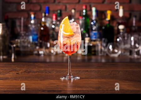 Alcoholic Aperol Spritz Cocktail at a Bar
