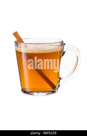 Warm Whiskey Hot Buttered Rum on White with a Clipping Path - Stock Photo
