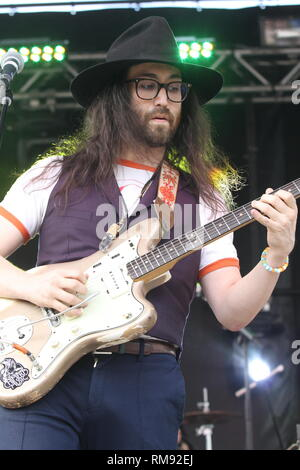 Musician Sean Lennon is shown performing on stage during a 'live' concert appearance with The Ghost of a Saber Tooth Tiger. - Stock Photo