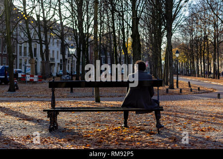 Man sitting on a bench in the sun contemplating in an autumn coloured park in the city of The Hague, The Netherlands - Stock Photo