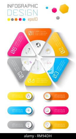 Business infographic on world map background with 6 labels under hexagon circle. - Stock Photo