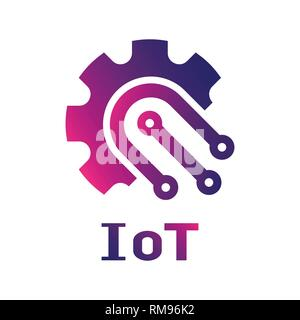 IOT Internet of Things logo vector template. Gear in IoT concept EPS 10 - Stock Photo