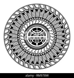 Polynesian circular ornament. Polynesian tattoo. Maori style - Stock Photo