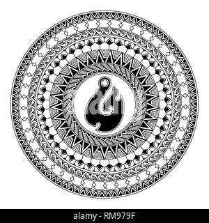 Polynesian circular ornament. Polynesian tattoo. Maori style. Abstract fish hook - Stock Photo