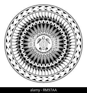 Polynesian circular ornament. Polynesian tattoo. Maori style. Abstract turtle - Stock Photo